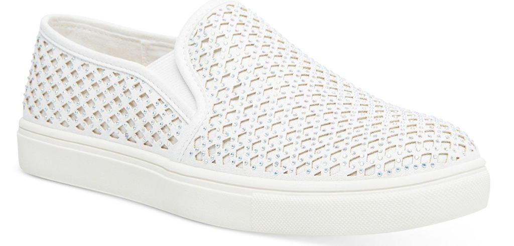 white slip-on sneaker with lattice pattern and rhinestones