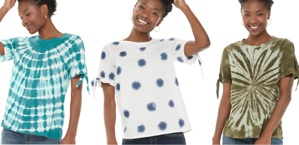 Woman wearing SONOMA Goods for Life Tie Sleeve Tees