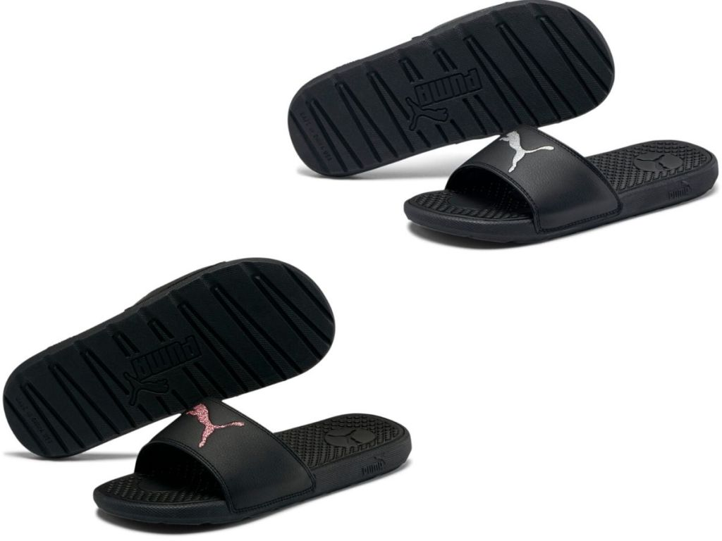 two pairs of women's slides