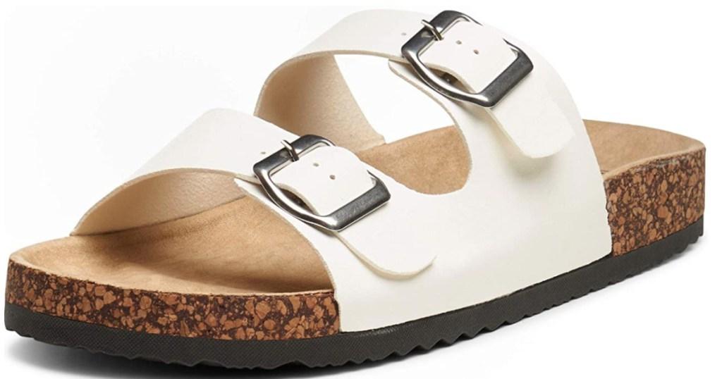 white women's 2 strap sandals