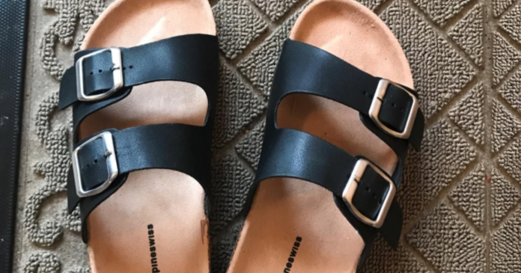 women's black and tan 2 strap sandals