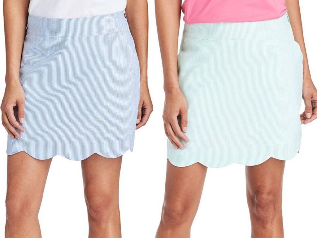 two women wearing skirts