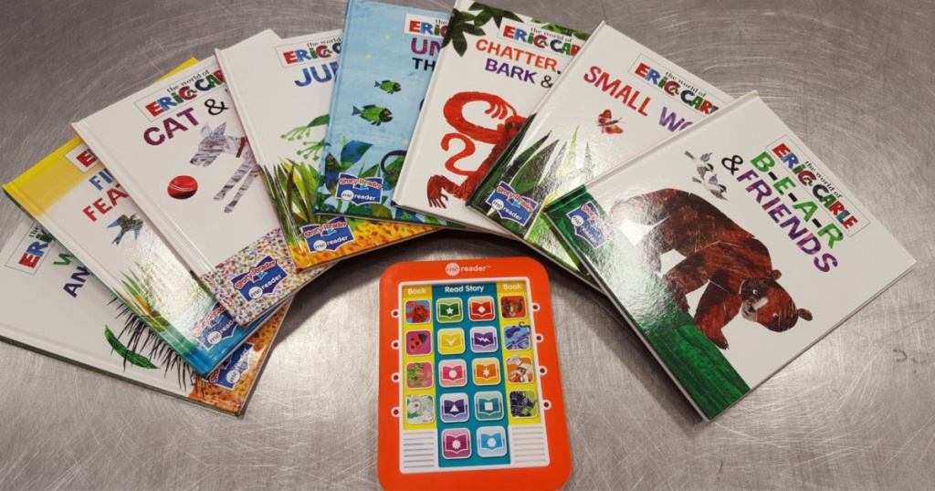 eric carle books and reader spread out on hard surface