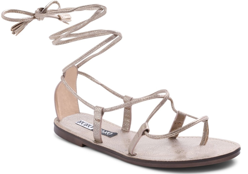 metallic gold colored strappy sandal that wraps up around ankle