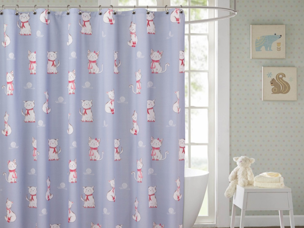 purple cat shower curtain in bathroom