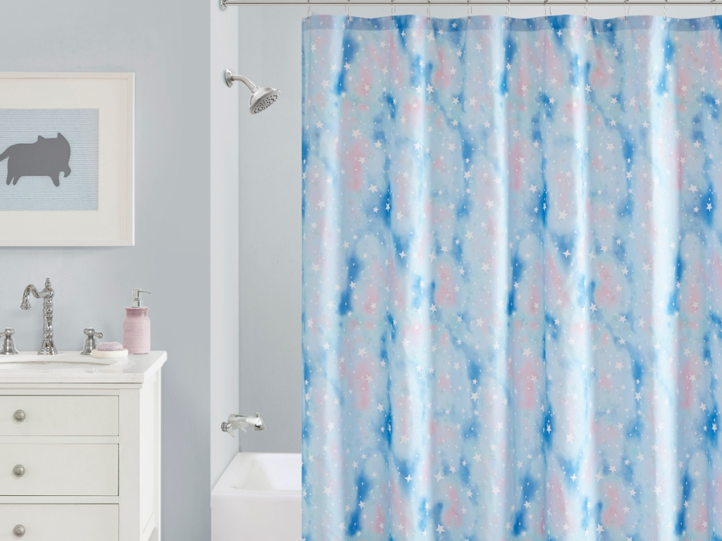 pink and blue star shower curtain in bathroom