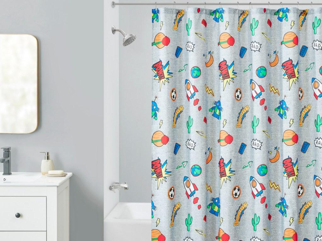 rocket shower curtain in bathroom
