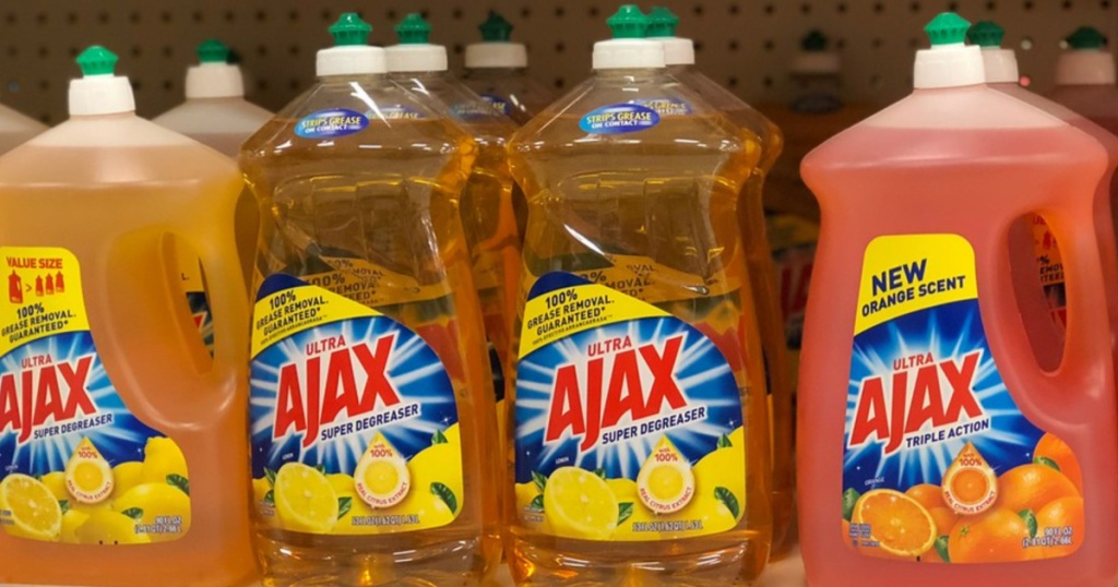 ajax dish liquid on store shelf