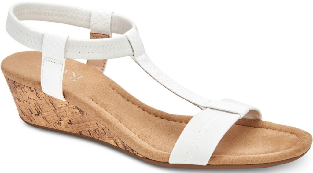 white strappy open-toed sandals with wedge heel