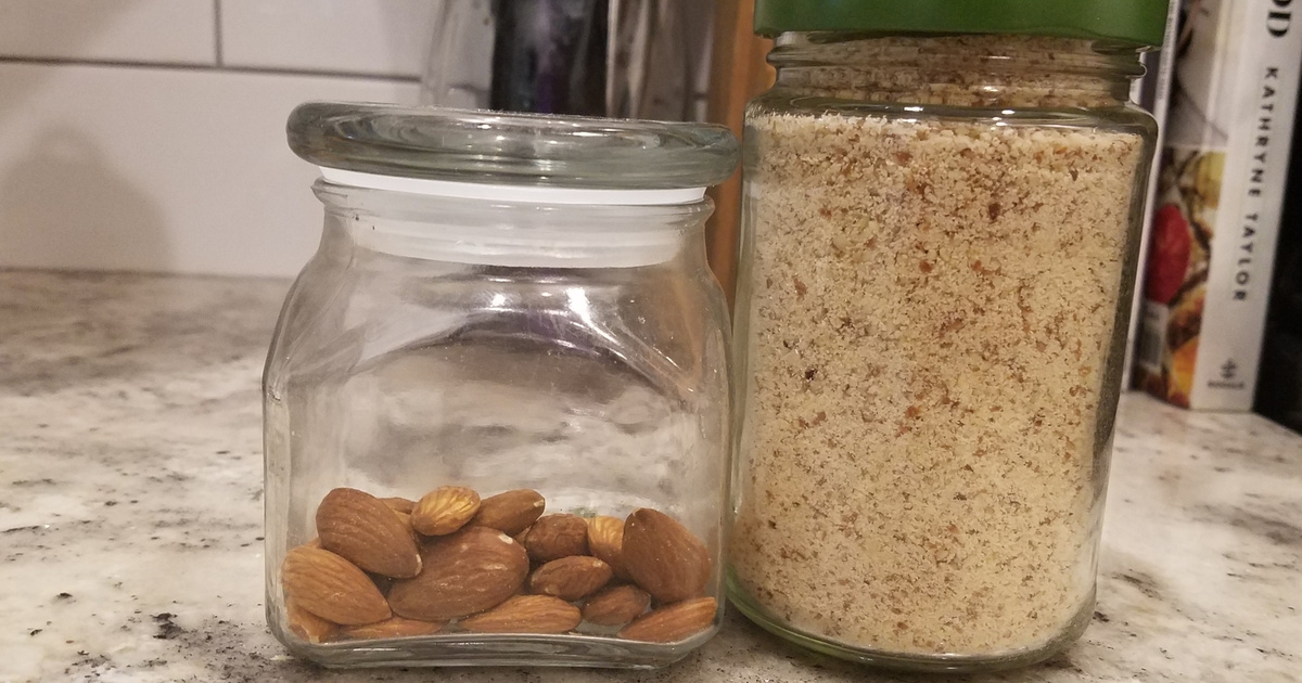 almonds and almond meal in canisters