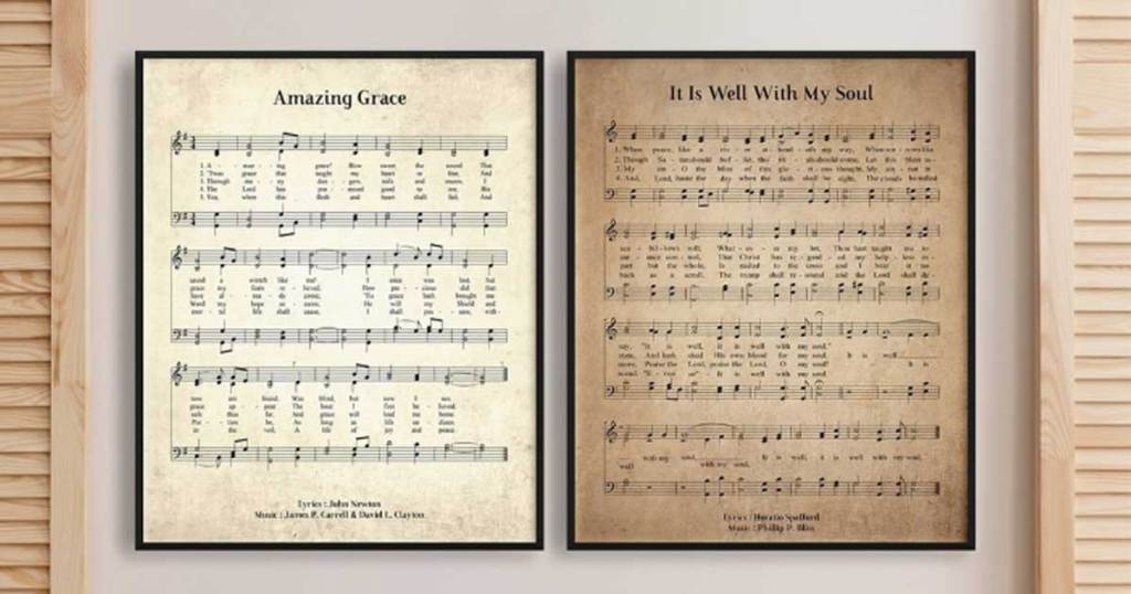 printed and framed hymns on a wall