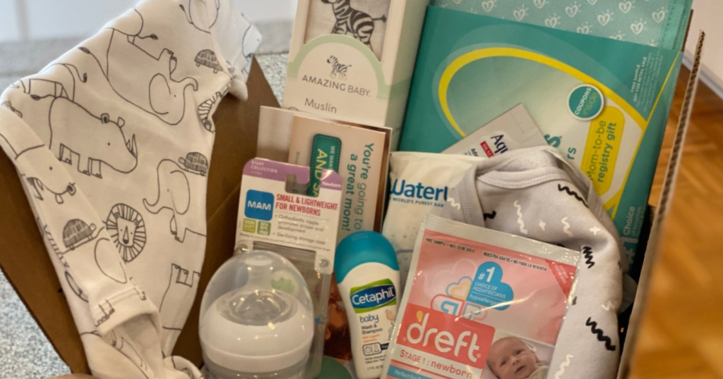 amazon welcome box filled with baby contents