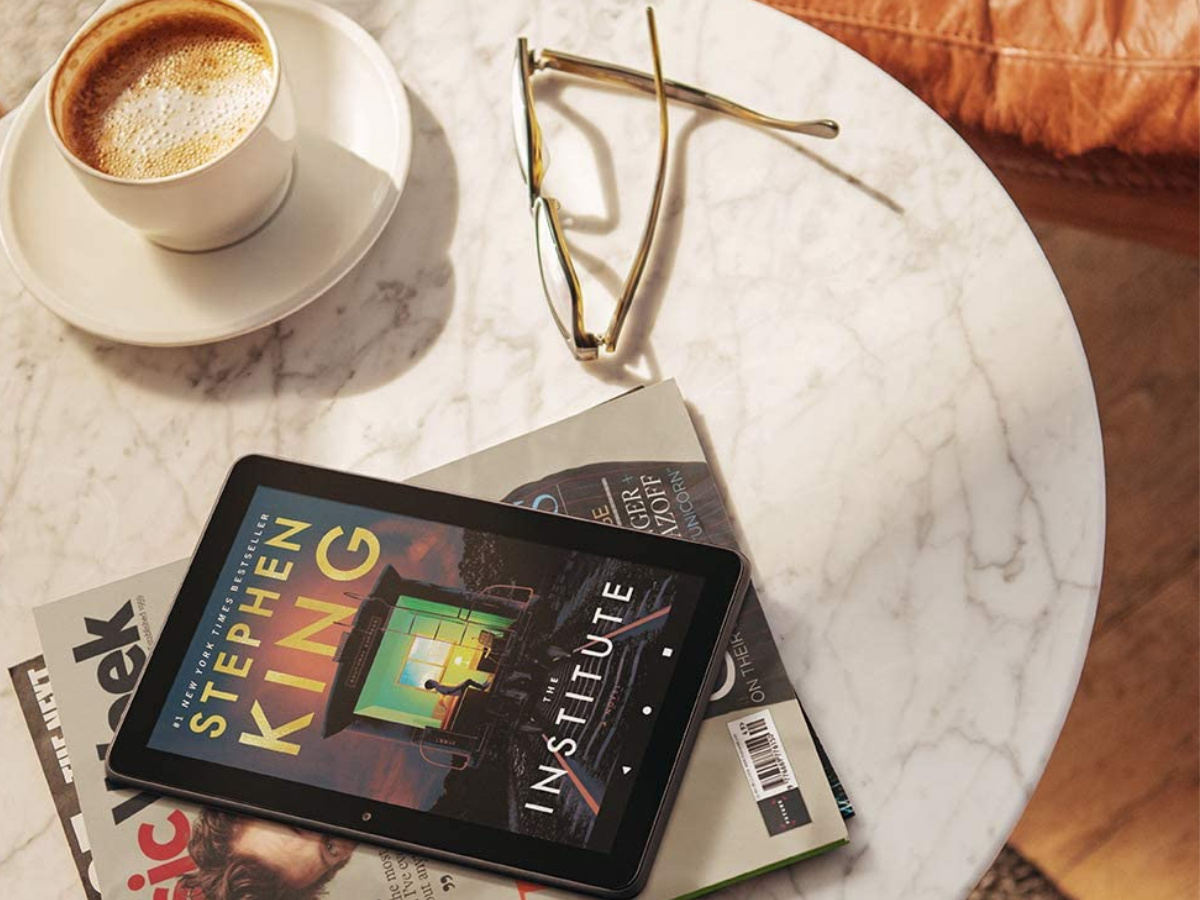 amazon fire tablet with Stephen king's institute title