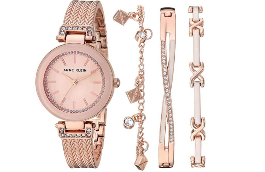 anne klein rose gold watch and bracelet set