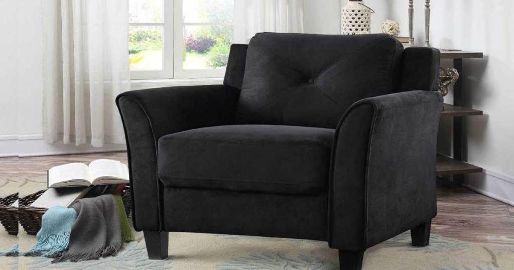black arm chair