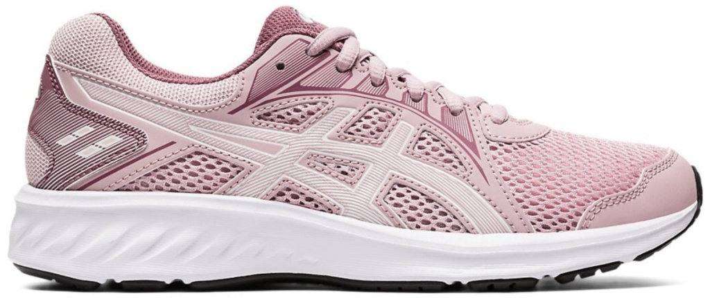 pink and white asics shoes with white sole