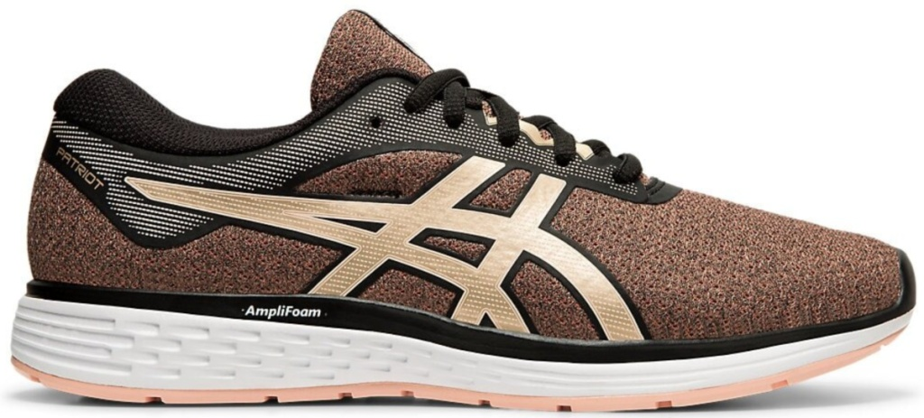 brown and gold asics shoe with white and peach sole