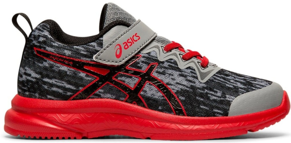 asics red and black running shoes with red sole