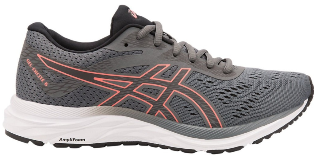 gray and pink asics running shoe with white sole