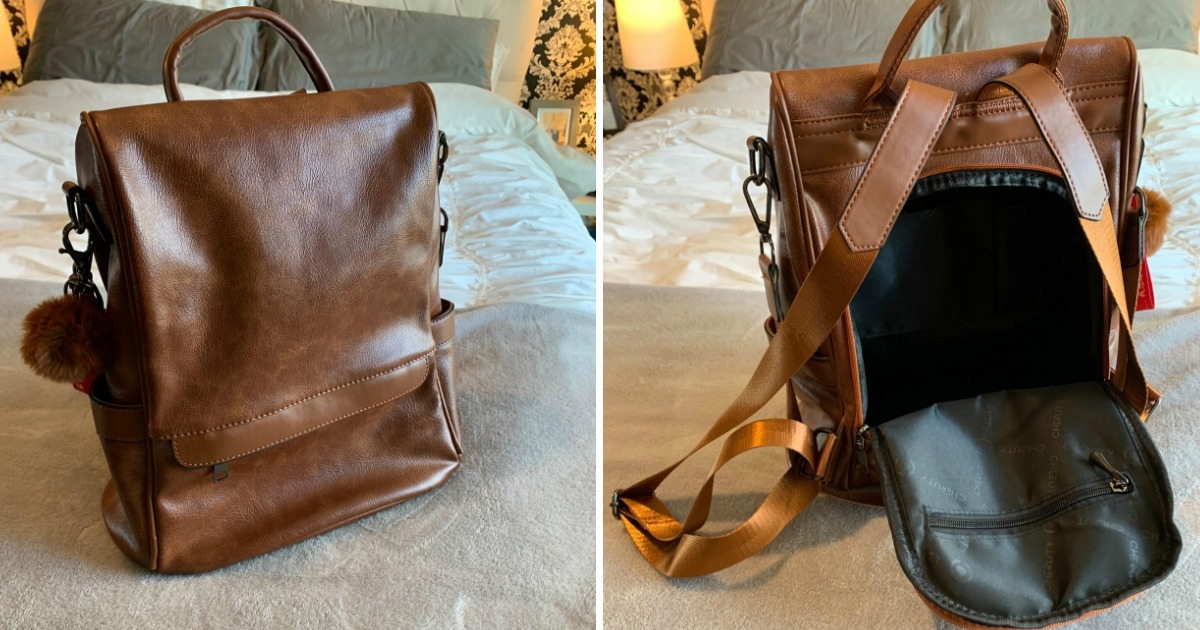 woman's backpack purse in brown leather showing the front and the back