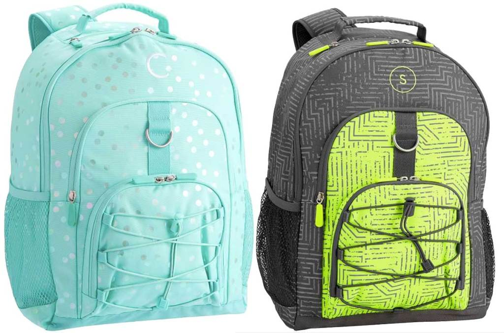 backpacks in light green and reflection gray
