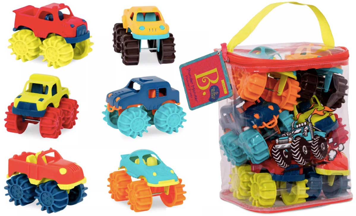 stock image of monster trucks and the bag they come in
