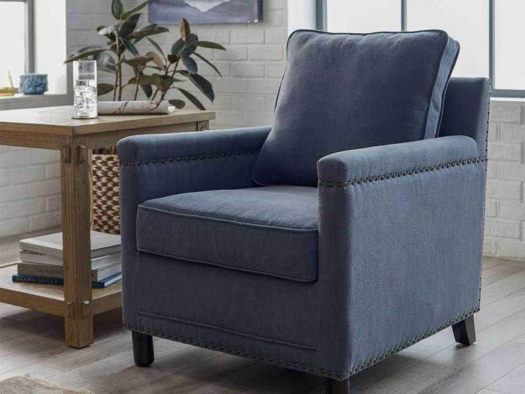 blue accent chair in living room