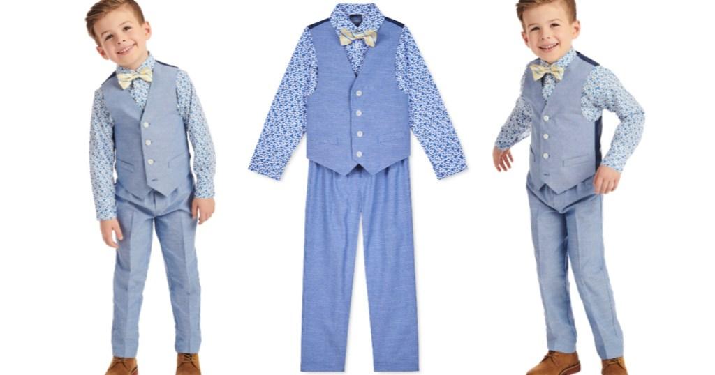 Little Boys 4-Piece Floral Vest Set