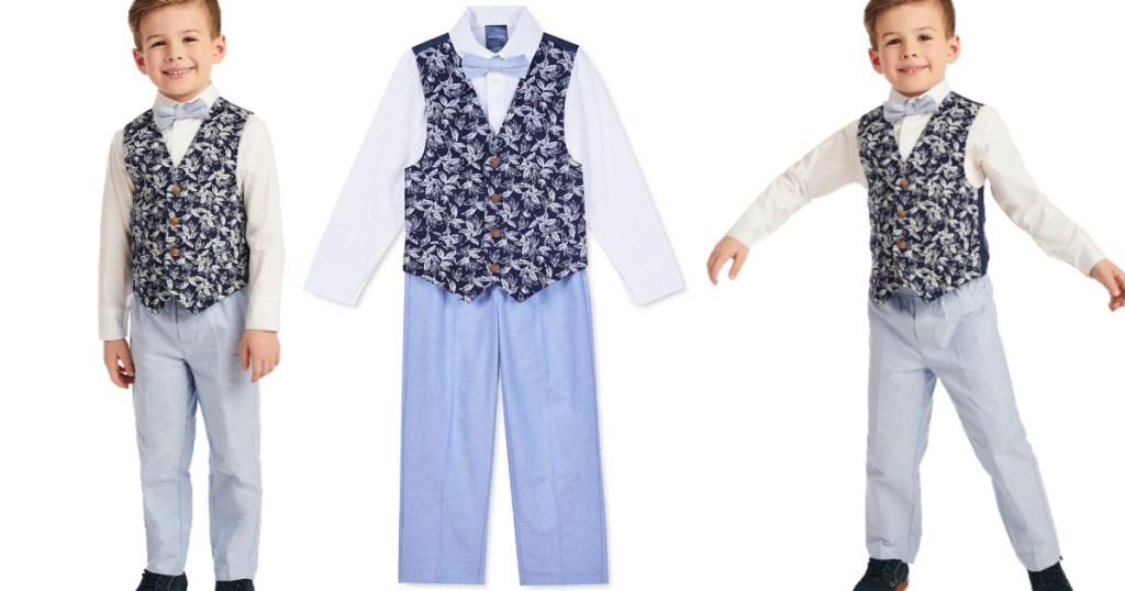 boy wearing Nautica Little Boys 4-Piece Tropical-Print Vest Set