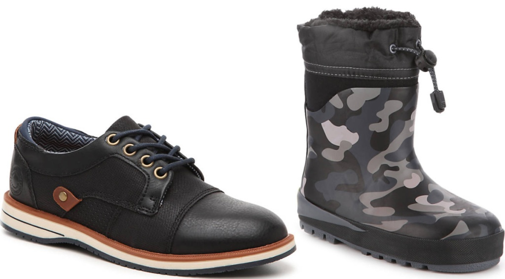 black oxfords and camo boots