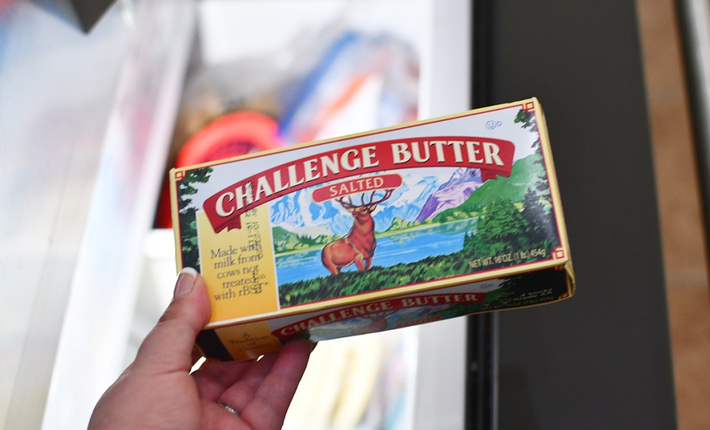 placing challenge butter into freezer