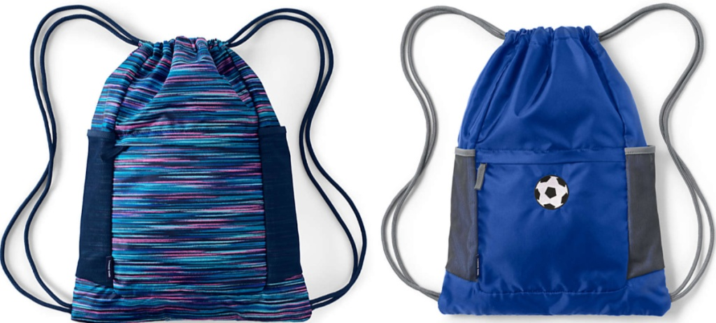 colorful striped cinch bag and blue soccer cinch bag