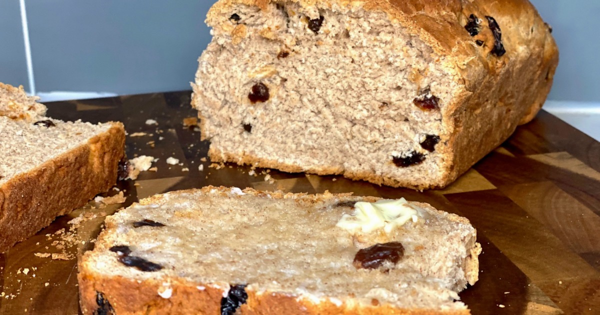 sliced cinnamon raisin bread with butter