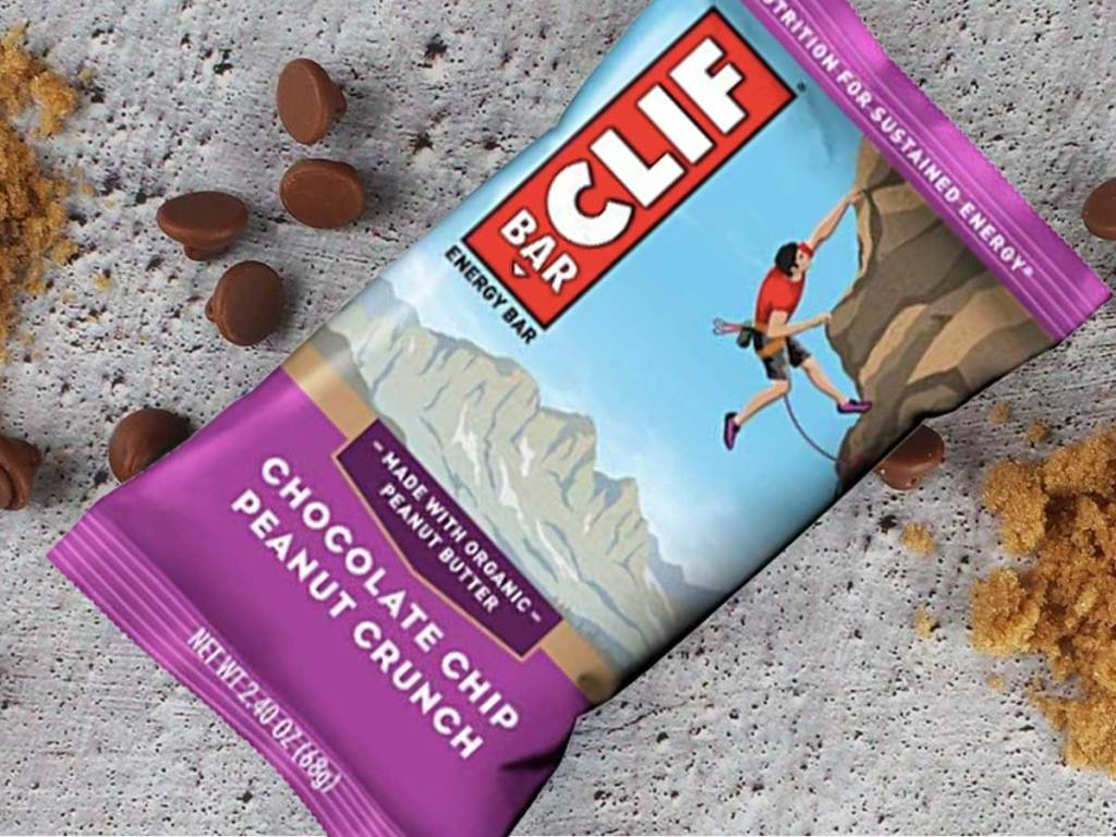 clif bar chocolate chip peanut crunch on a table