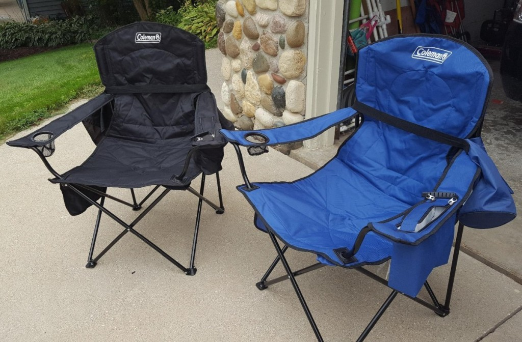 two camping chairs in blue and black
