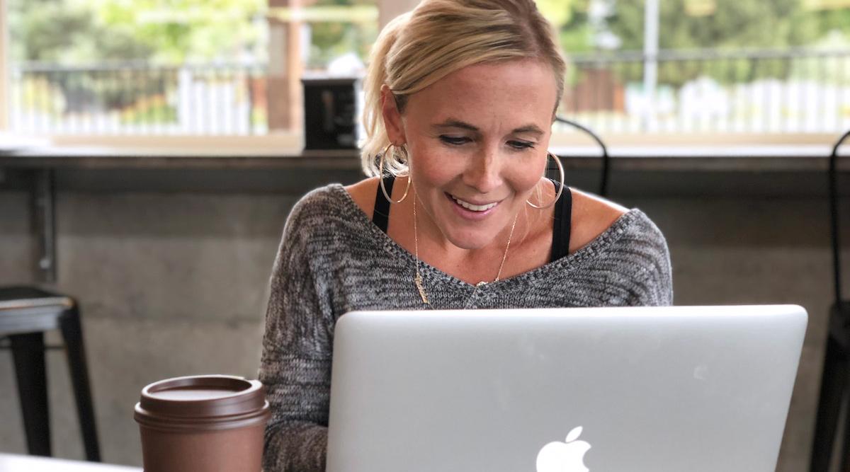 woman using Macbook