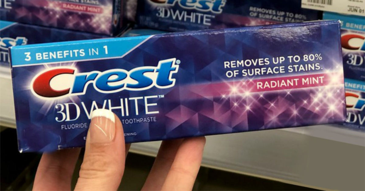 crest 3D white toothpaste in hand