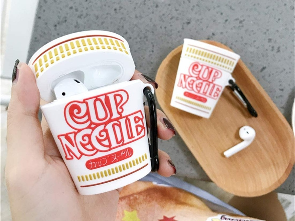 AirPod case shaped like Cup Noodles