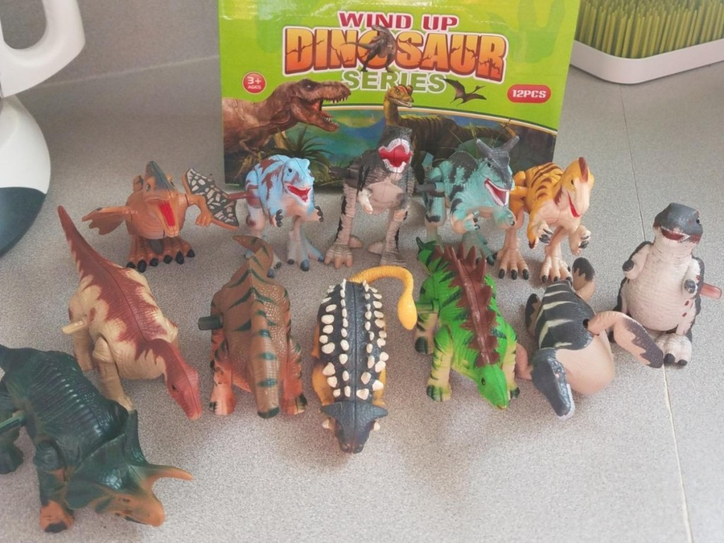 set of 12 dinosaur toys in front of green box