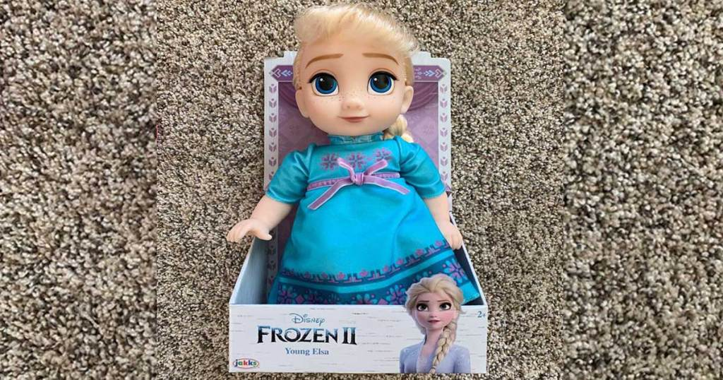 disney frozen 2 young elsa doll on carpeting