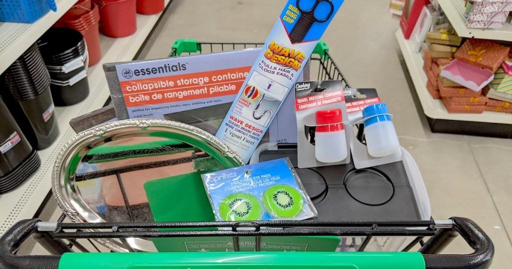 Dollar Tree cart full of random items in store aisle
