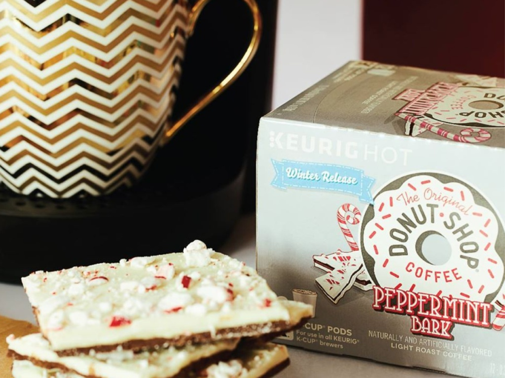 donus shop coffee and peppermint bark