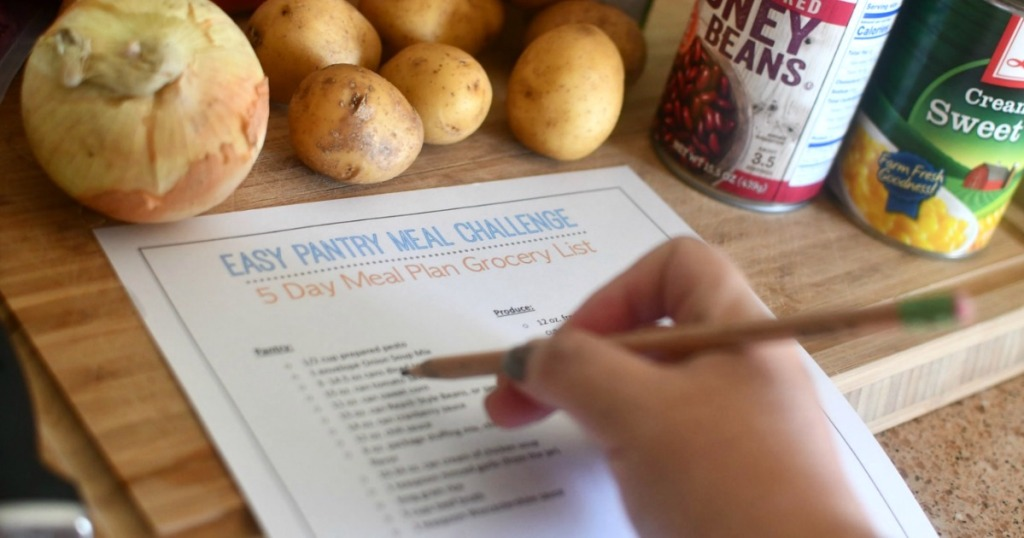 writing on easy pantry meal challenge