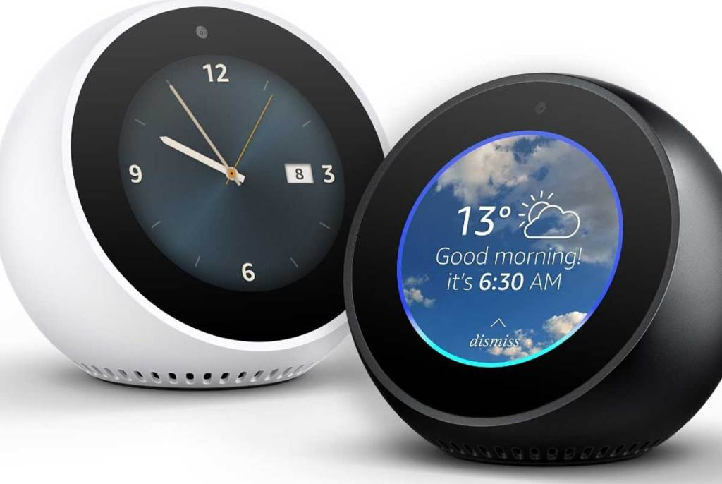amazon echo spot stock image of white and black clocks