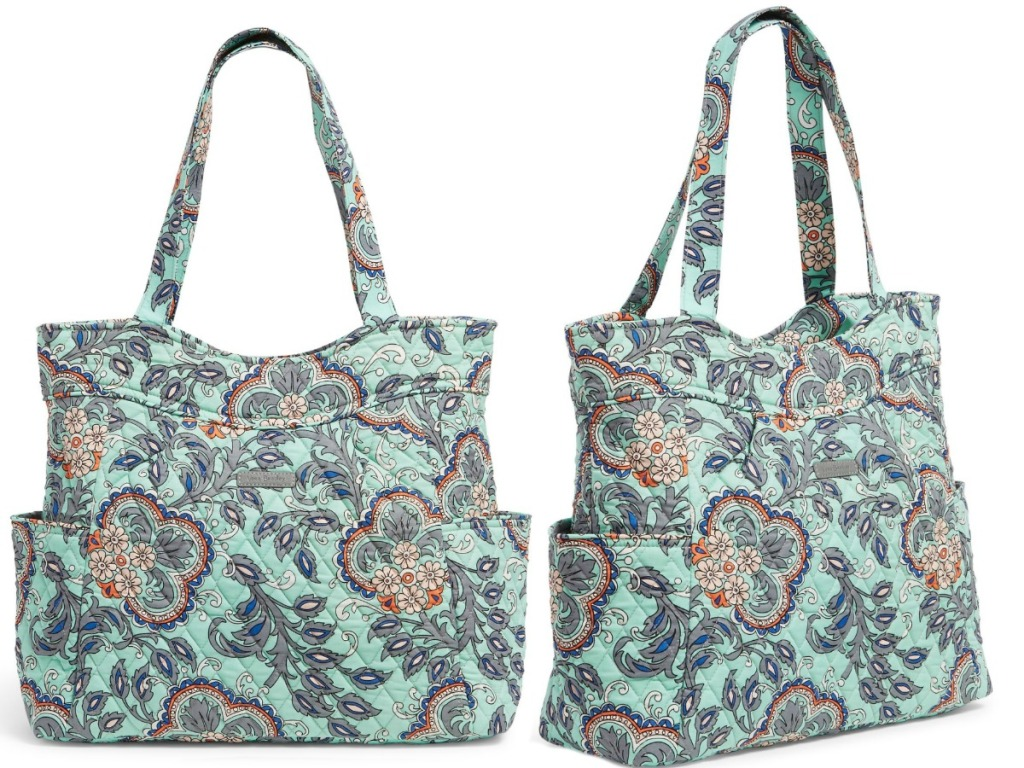 bag with teal and paisley on a white background