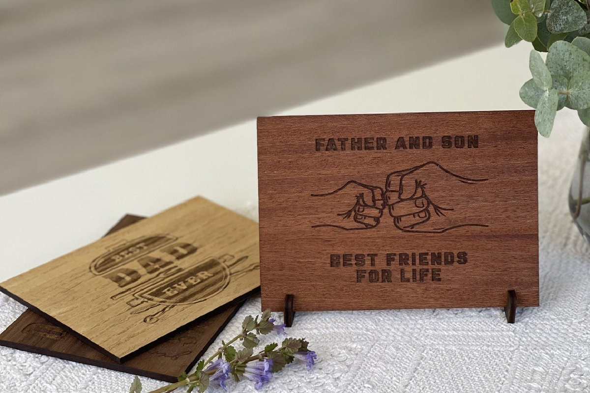 wooden father's day postcard