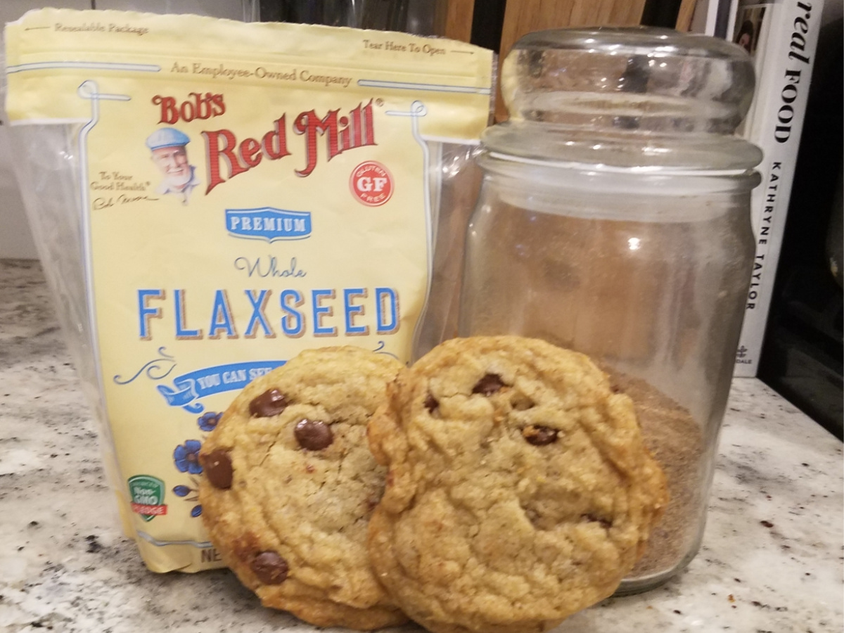 flaxseed bag with chocolate chip cookies on counter