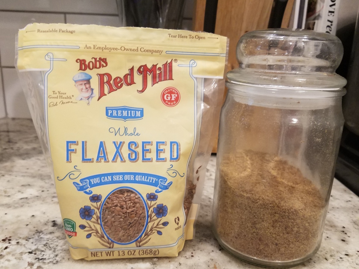 flaxseed bag with glass canister