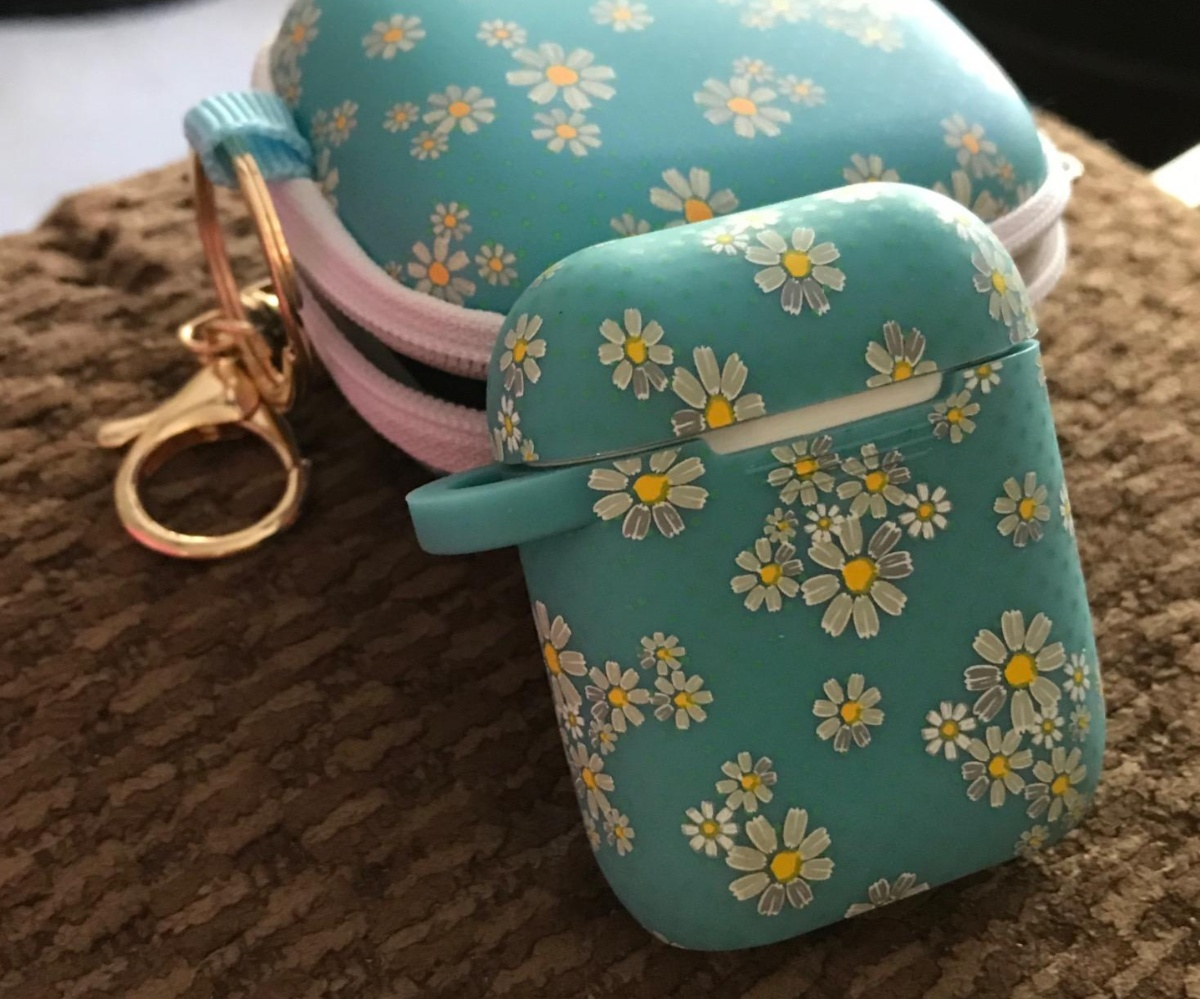 floral airpod case with carrying case