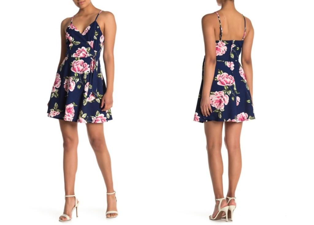 floral navy skater dress
